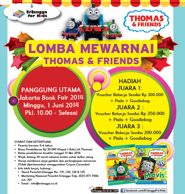 Erlangga For Kids On Twitter Lomba Mewarnai Thomas And Friends Di