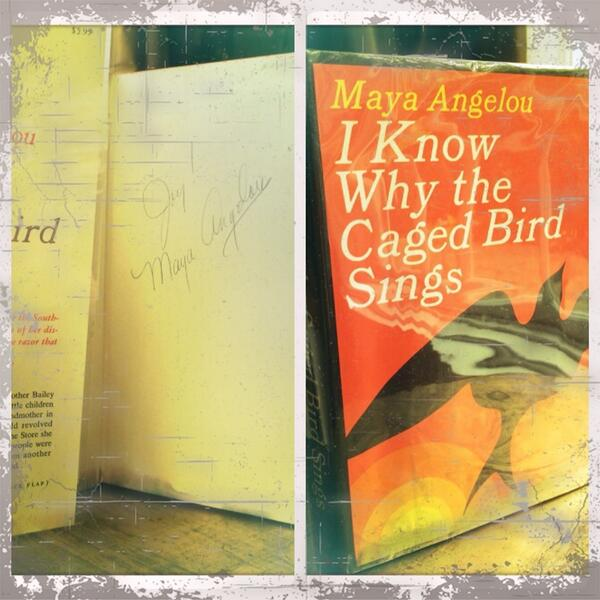 "My prized possession - a first edition signed copy of #IKnowWhyTheCagedBirdSings"" #Hero #RIPMayaAngelou http://t.co/ApDjIbZ9AY"