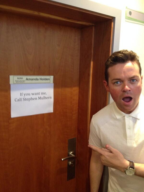 Look what sign @StephenMulhern has just found on @Amanda_Holden's dressing room door! #Unbelievable #bgmt http://t.co/KewMx4AB0H