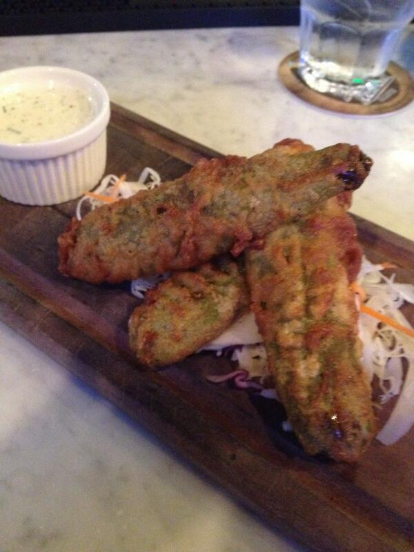 Deep fried @mcclurespickles at @BootsBourbon compliments of @saltgourmetfood http://t.co/SYlUrpS7kO