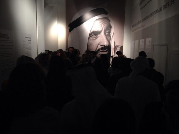 "Hunger for #ArabArt at ""Sky Over the East"" opening, presented by @BarjeelArt & @ADMAFsocial Thanks @SultanAlQassemi. http://t.co/ajpgpL6kDJ"