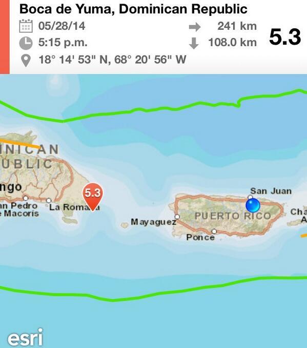 Temblor sentido en Puerto Rico a las 5:15pm fue de 5.3 grados en la costa esté de República Dominicana http://t.co/V4xN7QmIyP