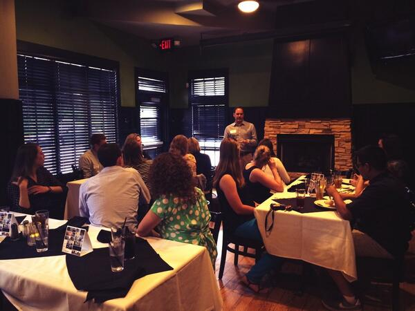Enjoying dinner at @BinkleysKitchen and learning more about @Broad_Ripple from @butleru alum Mark Wolf #ISE14 http://t.co/OtlTwEMk1i
