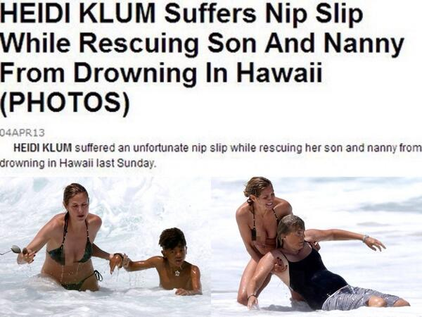 """#YesAllWomen because Heidi Klum was criticized for a """"nip slip"""" rather than praised for an act of heroism. http://t.co/20tfjrTNax"""