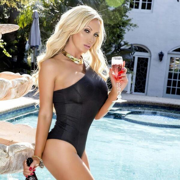 blonde model bent over