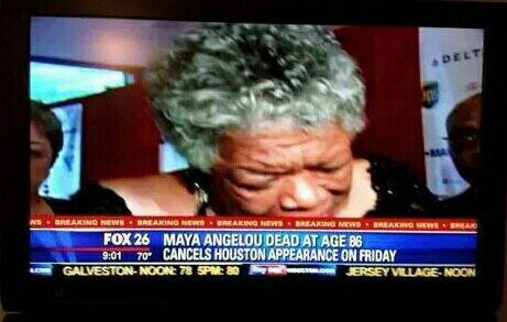 Maya Angelou cancels public appearance following own death, Fox News reports http://t.co/1G9zcuym77 http://t.co/xOsKFfuPAf