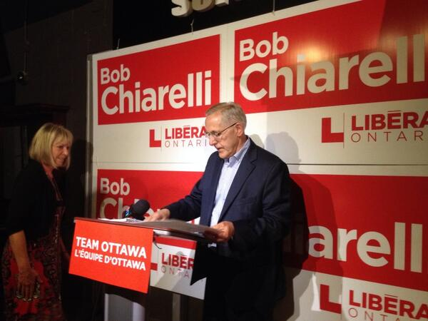 Liberal Bob Chiarelli finally arrives at his victory party in Ottawa West Nepean. #cbcott #ottnews http://t.co/g4EAM0BlrM