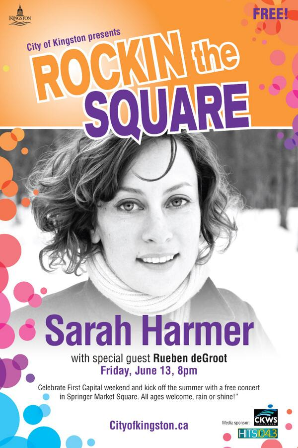 FREE #outdoors concert in Springer Market Square Friday evening. Sarah Harmer and @Rueben_deGroot