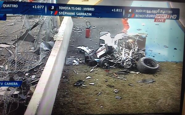 Loic Duval survived this #MiracleAtLeMans http://t.co/c7mdP9Eh3x