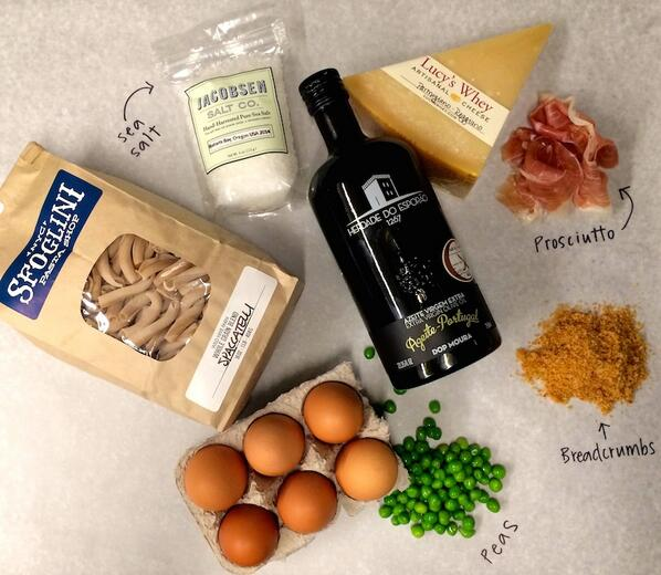 #dinnerwithlucy tonight is pasta carbonara, upgraded! @LaQuercia @JacobsenSaltCo @sfoglini http://t.co/ulhaRceN69 http://t.co/4QWMhr0nG4
