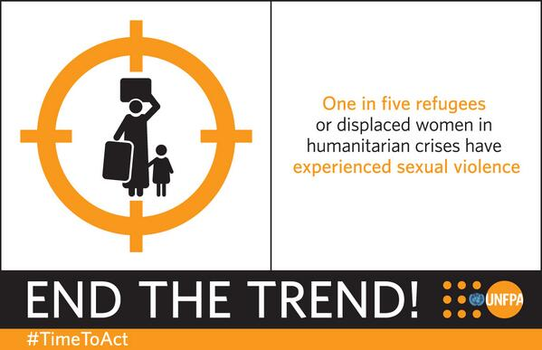 1 in 5 displaced women in humanitarian crisis have experienced #sexualviolence, accdng. to @UNFPA. #TimeToAct http://t.co/WBdCGXFuZX