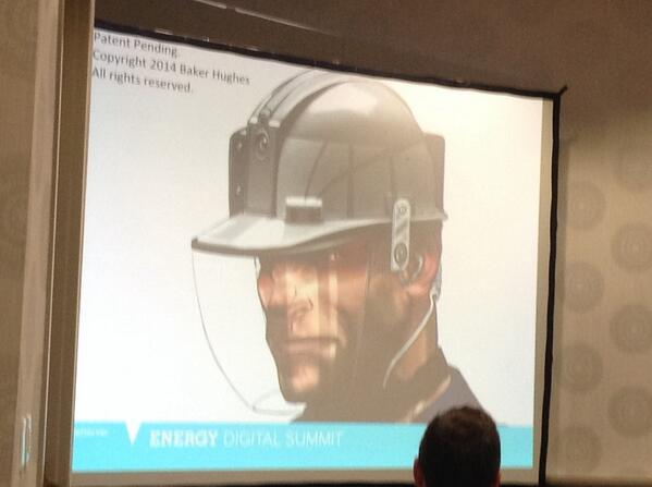 intrinsically safe safety helmet for the rig - #BakerHughes just got the patent per @joeltarver #EDSHouston To Cool! http://t.co/LGsKBTku4T