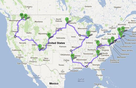 The most efficient way to road trip through 48 states, from @DataPointed: http://t.co/ydwWVEU2Iy (via @patkiernan) http://t.co/qcQFPWU7Np