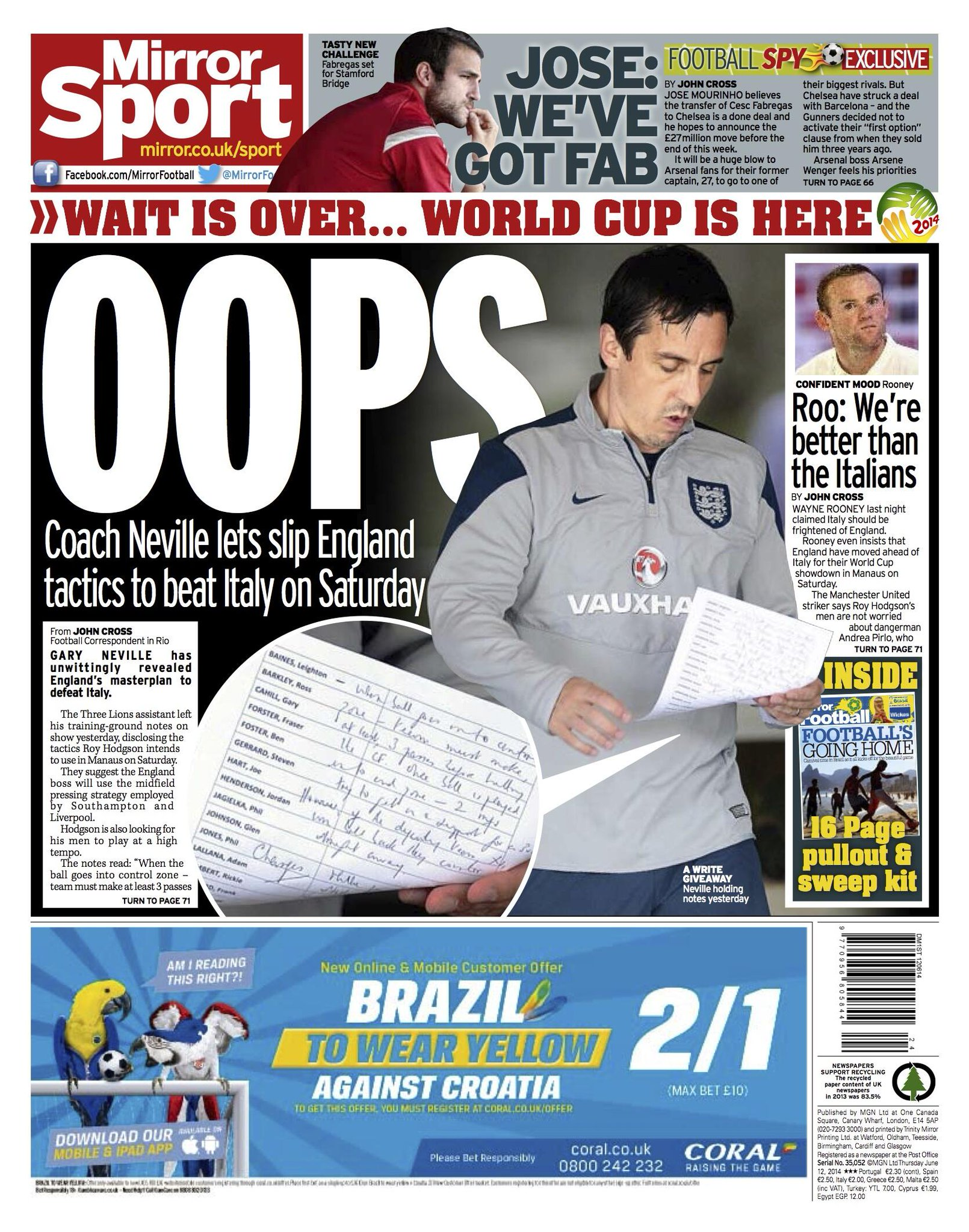 Captured! Gary Neville accidentally lets England training notes show in front of photographers [The Mirror]