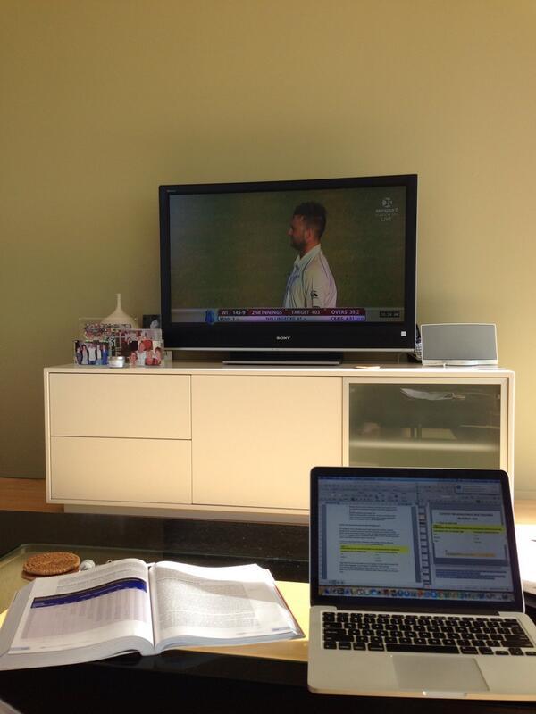 'Studying'... Let's go @BLACKCAPS, finish them off!! #cmonboys #nzvwi http://t.co/mz7QsMx6X1