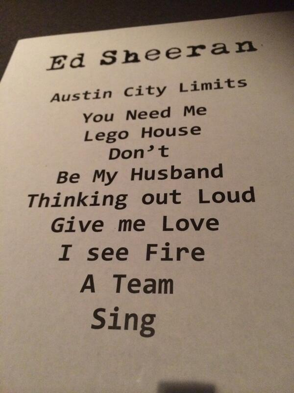 .@edsheeran set list for @acltv #acltv40 http://t.co/yall8kl0Lo