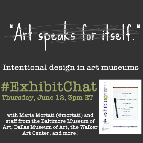 Join today's #ExhibitChat to discuss challenging traditional #arthistory approaches to exhibition design. 3pmET http://t.co/hjZU2wvS6A
