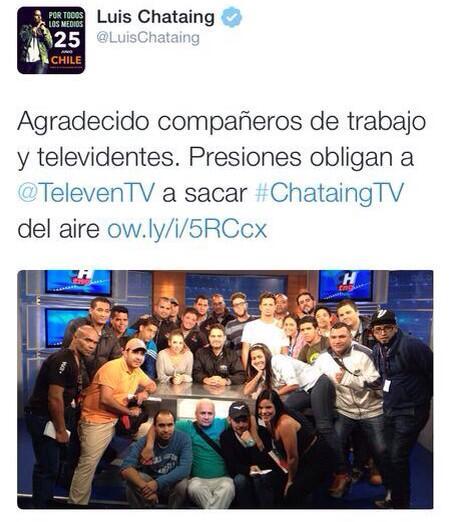 Vuelven nuestros corazones a sentir el dolor del cierre de RCTV con la salida del aire de #ChataingTV @LuisChataing http://t.co/qGlAtkGyNE