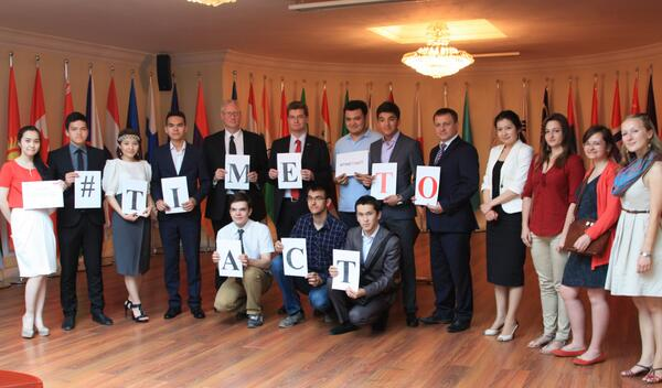 It's #TimeToAct say students during Debates organised by British Embassy Astana. http://t.co/Yaj2cItPWL
