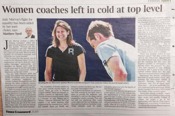 Strong article on female coaches by @matthewsyed after @judmoo speech highlights issues at #beagamechanger event http://t.co/324gZNqbTB