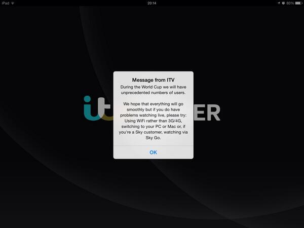 ITV Player getting its defence in first for any World Cup bandwidth issues. And not a single pre-roll served. http://t.co/Hm3YcIxEdm