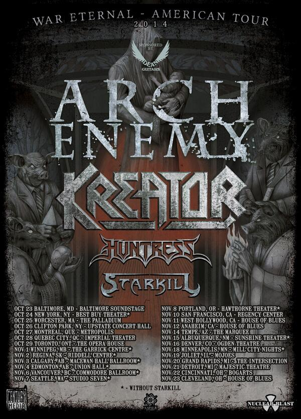 ARCH ENEMY, KREATOR, HUNTRESS, STARKILL fall tour
