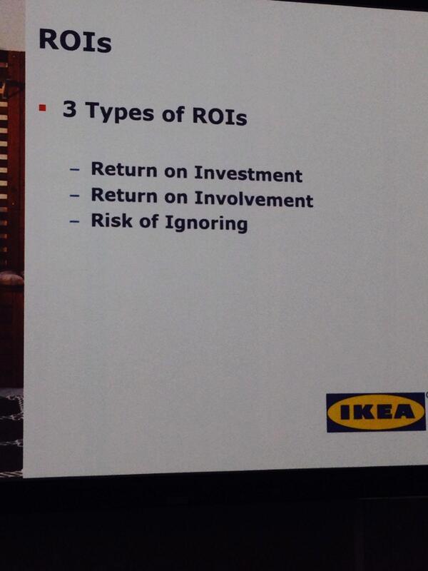 3 types of ROI for Social Media Return on Investment Return on Involvement Risk of Ignoring  ~Katy Lee #ANAMarketers http://t.co/r5Htk0xQqJ