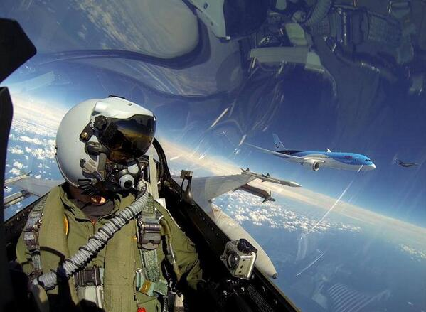 "Everyone else can stop now. ""@MeredithFrost: Dutch F-16 pilot …  badass selfie … Boeing Dreamliner in background http://t.co/eE3NFlYNfo"""