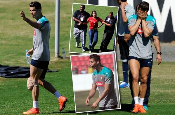 Ronaldo ends training with an ice-pack strapped to his leg 86a60de290