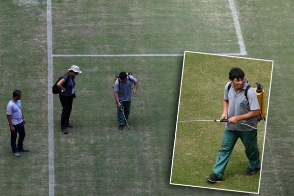 Amazônia Arena groundsmen are spraypainting pitch green in Manaus for England v Italy [Pictures]