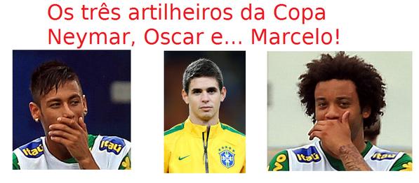 Os artilheiros da Copa! Quatro gols do Brasil! Kk #worldcup #copadomundo http://t.co/EzgrMEX100