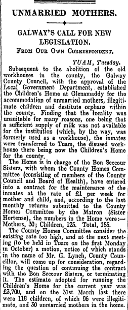 """Unmarried Mothers"" (Irish Times, 12th Sept 1928) #Tuam 1/2 http://t.co/jTypYw2Ljx"