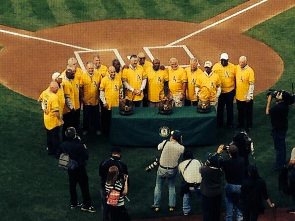 ...and those are three World Series trophies. #Athletics http://t.co/QzGfeaZgPs
