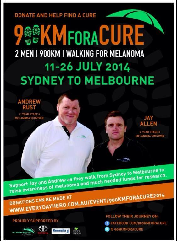 Two #melanoma survivors walking 900km's Sydney-Melbourne Kicks off July 11. Support this great cause @900kmForACure http://t.co/GDSqV31Qz0