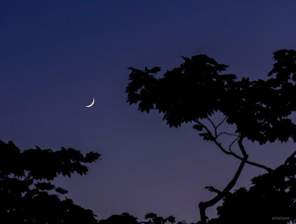 西空に細い月と木星が見え始めました。スマートフォンなどで撮影に挑戦される方は空の明るさが残っている今のうちのほうがうまくいくかもしれません。 pic.twitter.com/PjCCtuHr2A
