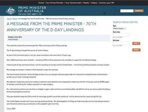 The Abbott release that segue ways from #DDay to #carbontax has been pulled. Here's a screen grab h/t @natecochrane http://t.co/11fyr8FbQM