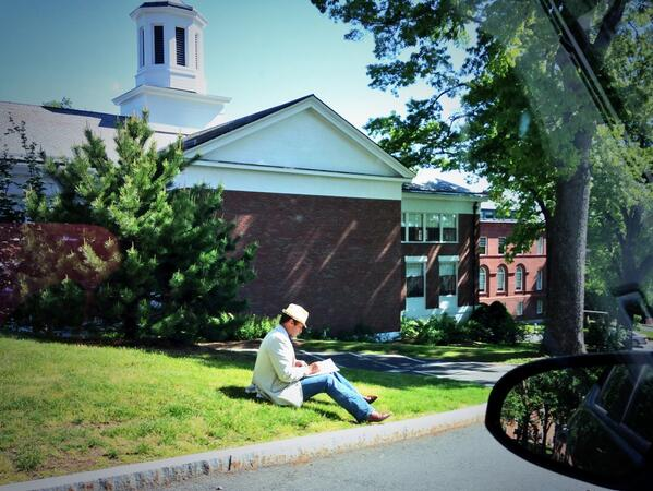 Man reading book on the hill @AmherstCollege. This is why I love & miss Amherst. #lifelonglearning http://t.co/93bjYHBKEA