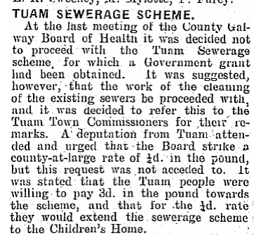 The Tuam Sewerage Scheme was to be extended to the Children's Home in 1928 (CTribune, 10/3/1928) http://t.co/ZzSZYoUwvd