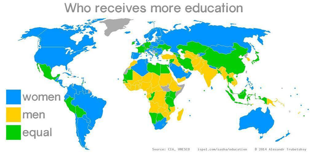 Twitter / JoyAndLife: World map showing education ...