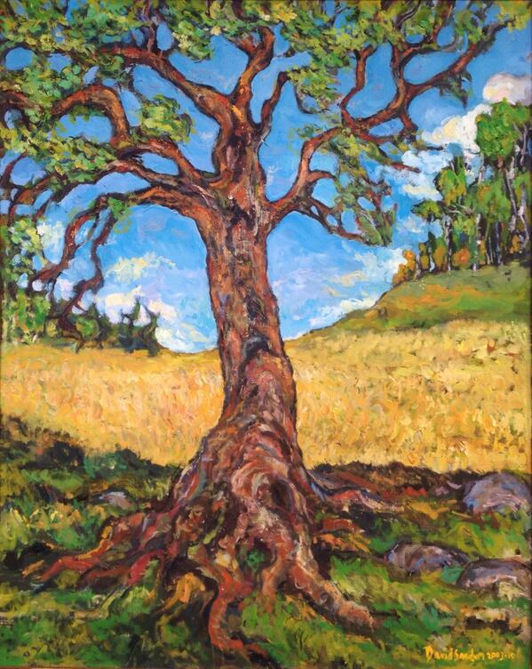 "Oil painting just sold to a collector. ""Tree of life - A sort of self-portrait."" 65x81cm, 2003-10. http://t.co/WpYA8cGWa0"
