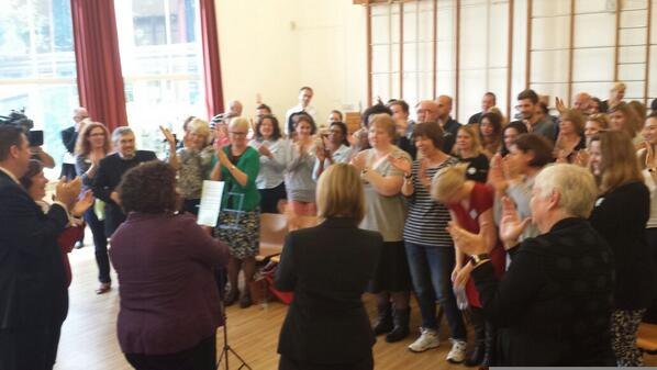 Standing ovation from Sulivan School staff and supporters for Head Teacher Wendy Aldridge http://t.co/Y9pqi7amiw