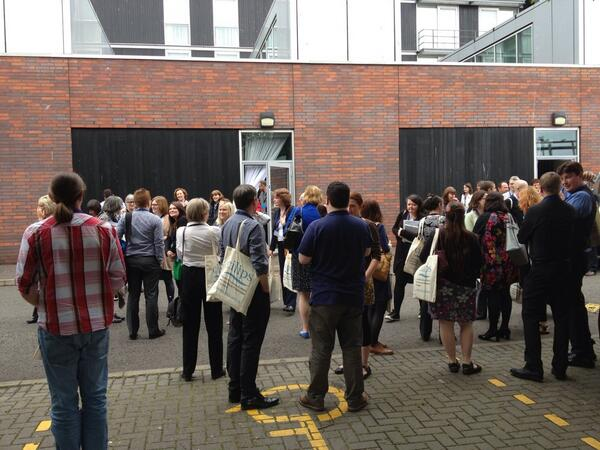 Evans inspiring keynote interrupted by fire alarm! #CILIPS14 http://t.co/Nvovqsx7HX