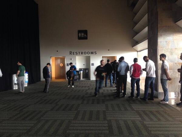 Apple WWDC...where there's a long bathroom line for men and not women. http://t.co/Vuf34MMDJz