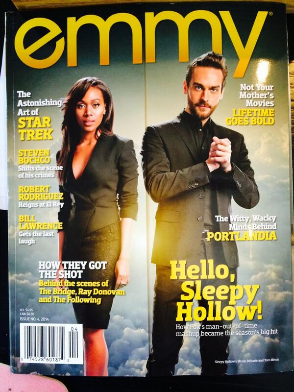 @TomMison and @NikkiBeharie are on the cover of the current #Emmy magazine! #SleepyHolla! http://t.co/7wv0zGBWzJ