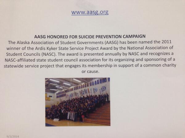 More images of #youthsuicide progress here in Alaska via Barbara Franks #youthsuicide #pennalaska14 http://t.co/4LFTvs1rvB