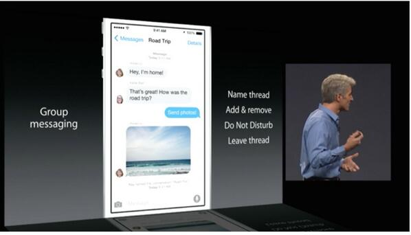 Group messaging #iOS8 #WWDC14 http://t.co/Dw5vr6TUVk