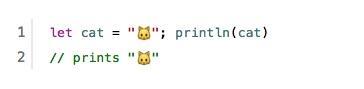 Swift、プログラミング言語の中に絵文字が入ってる… pic.twitter.com/TiyFKAdjlh
