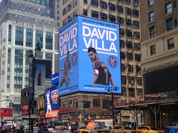 David Villa already features on billboard in New York, similar to Man Citys Carlos Tevez billboard [Pictures]