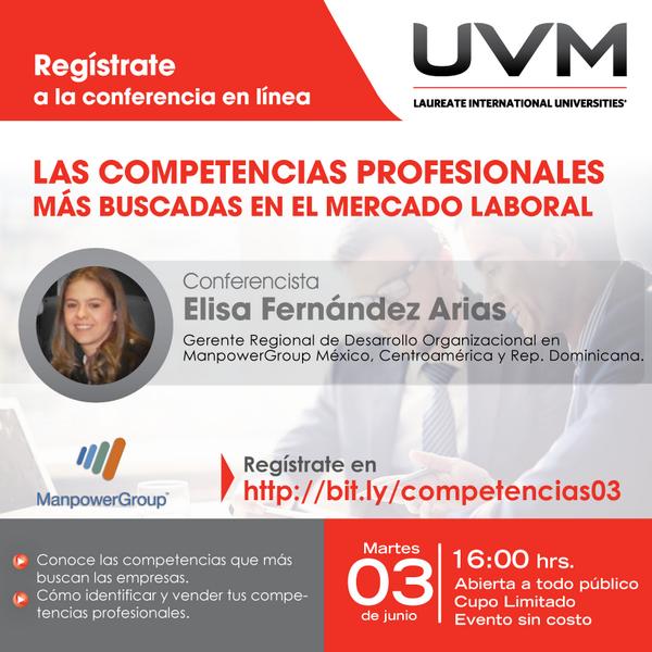 """Mañana Conferencia en línea """"Las Competencias más buscadas en el mercado laboral"""" Regístrate http://t.co/HmRUUCab6k http://t.co/UakSFr0edC"""