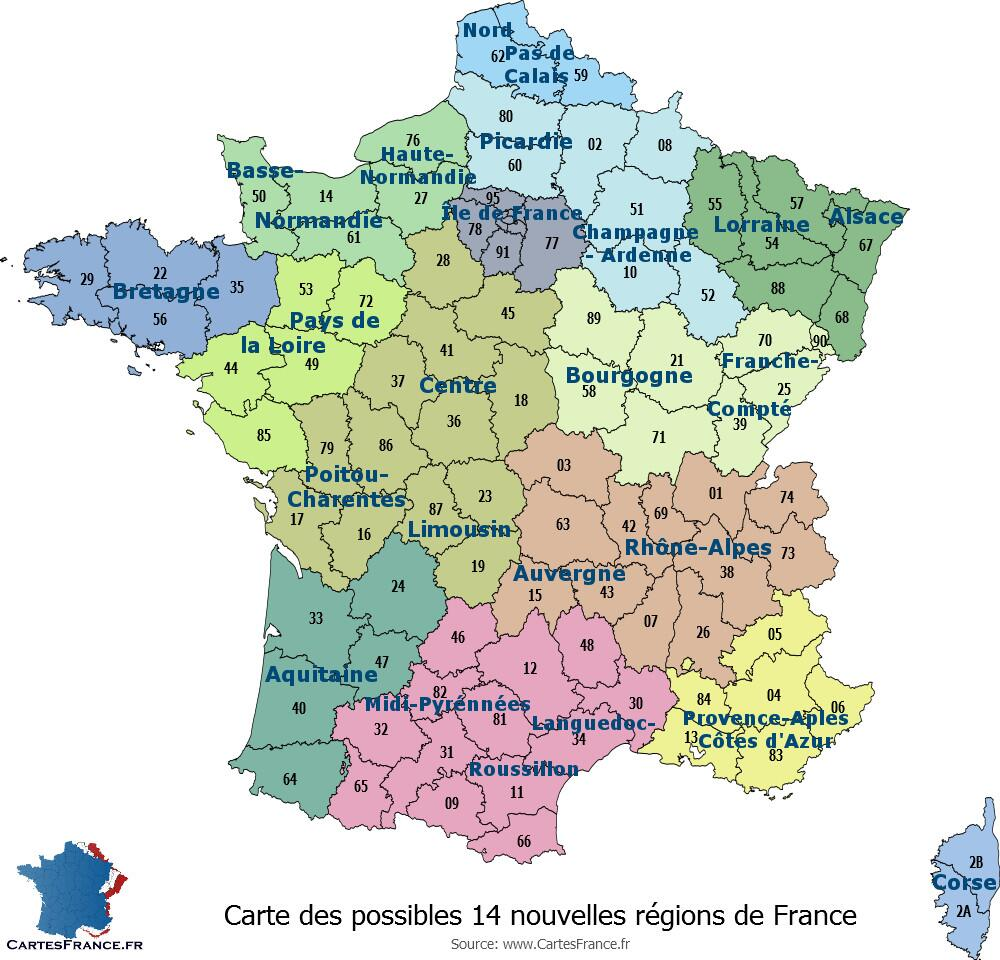 """Carte de France on Twitter: """"La #carte des 14 #nouvelles #regions de France http://t.co ..."""